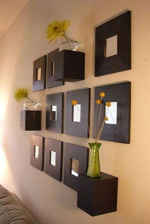 Montajes con espejos para decorar Decoracion de salas con espejos en la pared